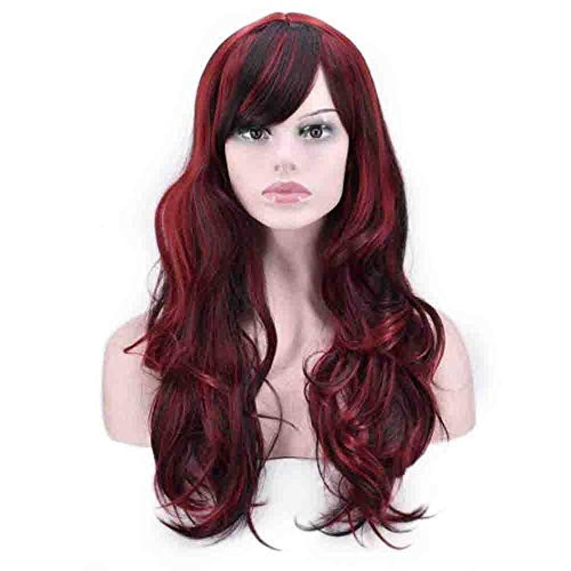 感動する誤解させる縞模様の女性のための色のかつら、ポニーテールのロリータカーリーコスプレウィッグ、高密度温度合成ウィッグコスプレヘアウィッグ、耐熱繊維ヘアウィッグ