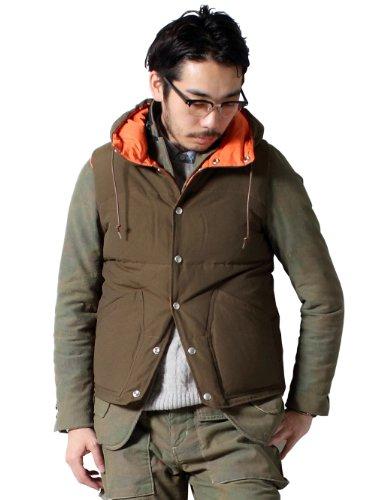 Hooded Down Vest 38-06-0057-139: Olive / Orange