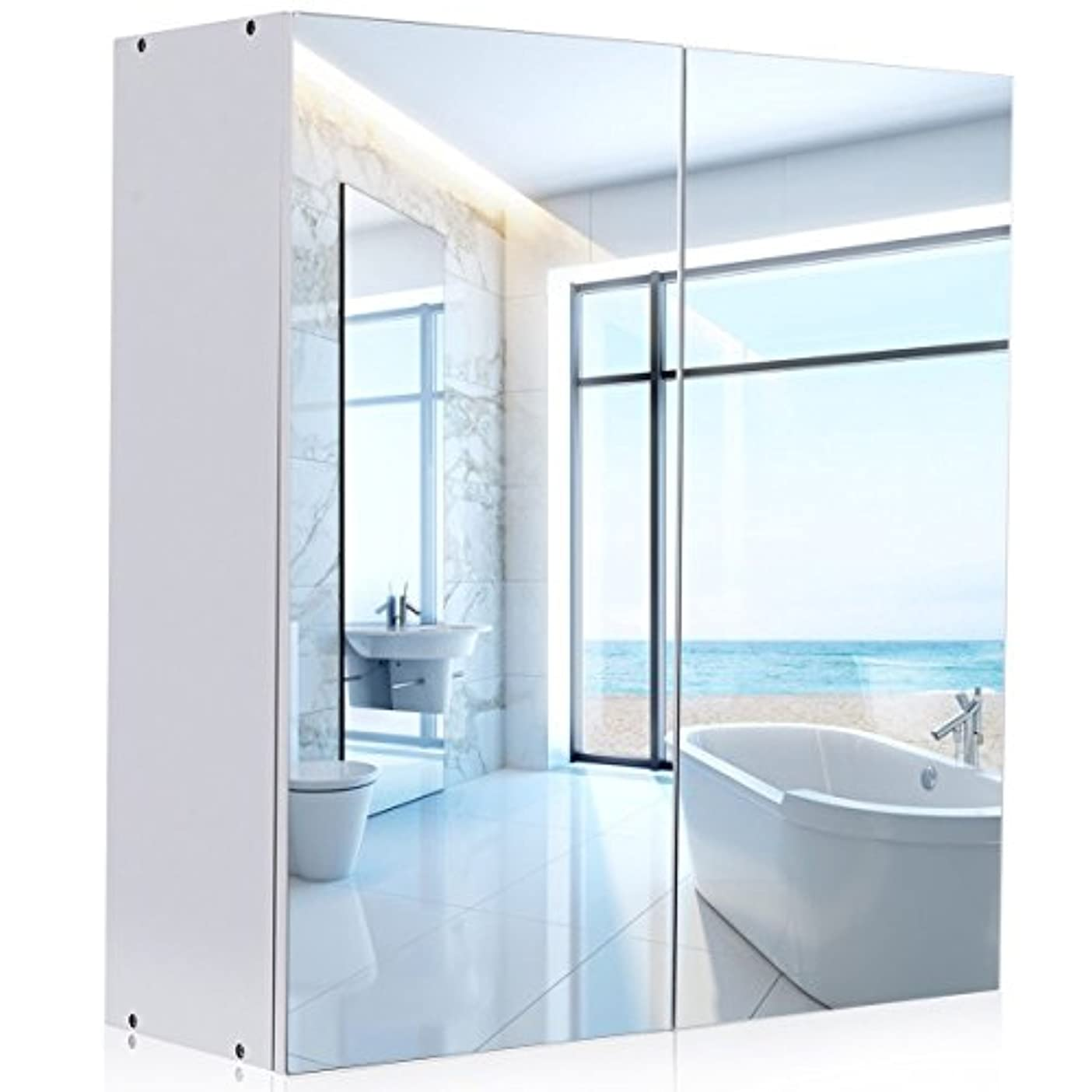 バンク預言者マッシュWATERJOY ミラーキャビネット 壁取り付け式 浴室 鏡付き薬棚 鏡付きドア 棚 ホームファッション キャビネット食器棚 モダンなデザイン ホワイト