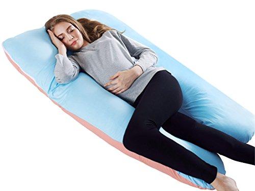 Meiz 妊婦抱き枕 マタニティ 授乳クッション 多機能便利 腰痛と筋肉痛対策 安眠快眠 ブルー&ピンク...
