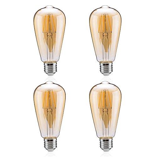 Tengyuan エジソン電球 40W形相当 4W フィラメント電球 LED E26口金 電球色 450lm 金色タイプ アンバーガラス 広配光タイプ ST64 クリア電球 E26 360度発光 (4W金色 4個入り)