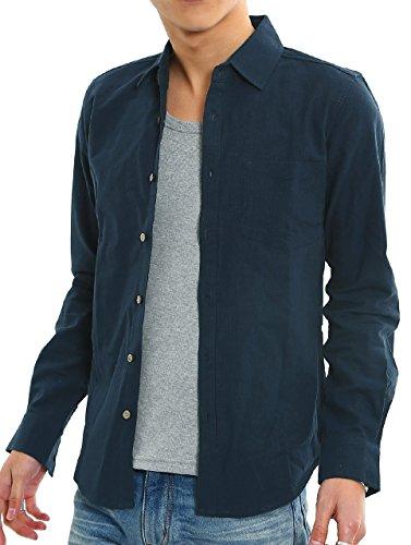 インプローブス 綿麻 シャツ ウッド調ボタン スリム ストレッチ パナマ織りシャツ メンズ A 長袖 ネイビー M サイズ