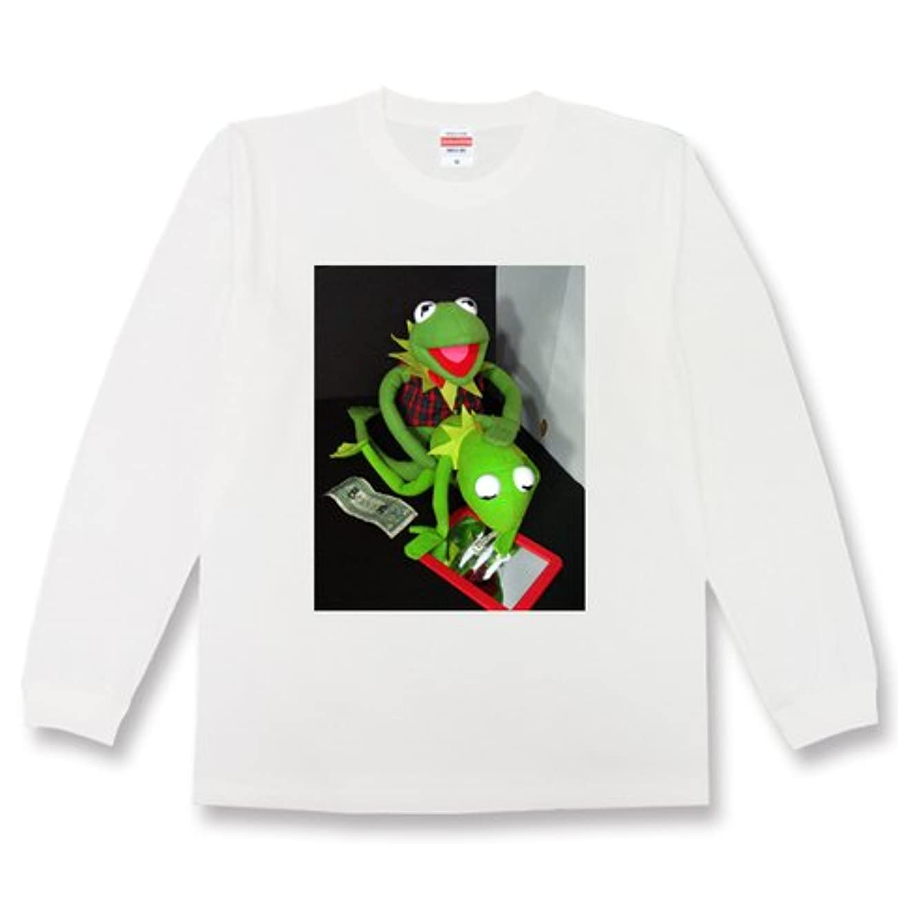 採用刈り取る友だち悪カーミット Kermit コカイン ドラッグ セクシー エロ 変態 パロディ メンズ レディース ユニセックス 長袖Tシャツlswh00040-g