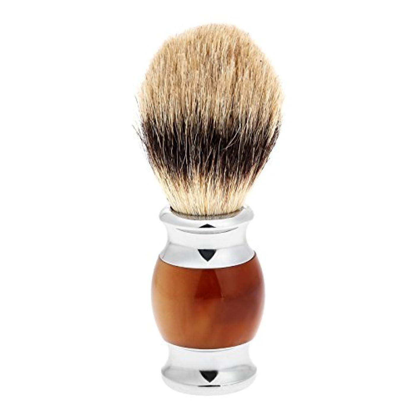 手入れ等々買い物に行く1PC メンズ ひげブラシ アナグマ毛 シェービングブラシ バーバー シェービング用ブラシ 理容 洗顔 髭剃り