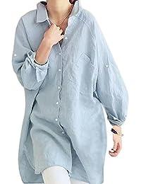 (ヌノネット) nunonette ゆったり シルエット ロング シャツ バック ボタン レディース 長袖 ブラウス チュニック丈