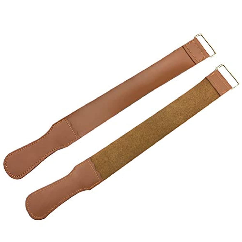 アリ征服者折り目SUPVOX 2ピースストレートカミソリストラップ純粋な革研ぎストラップナイフ研ぎベルトシャープナー用折りたたみストレートかみそりシェービングナイフ