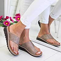 Women Comfy Platform Sandal Shoes, Womdee [2019 New] PU Leather Wedge Heel Sandals with Toe Arch Support Summer Beach Travel Shoes Fashion Sandals Comfortable Ladies Shoes Khaki CN 38