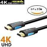 プレミアム HDMIハイスピード ケーブル Premium High Speed hdmi Cables 2.0規格 イーサネット対応 1080P/4K 60Hz 4:4:4/3D / コンパクト端子/ハイスピード/高耐久やわらかケーブル仕様 対応 パソコン 液晶テレビ ブルーレイレコーダー 12ヶ月保証付き TESmart® (2パック3m)
