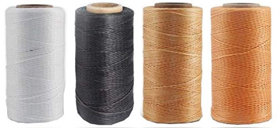 十年変換腐食する蝋引き 糸 ワックスコード 0.8mm 260m 黒 白 カーキ 薄茶 カラー 4色 セット レザークラフト 手縫い 革 用 手芸