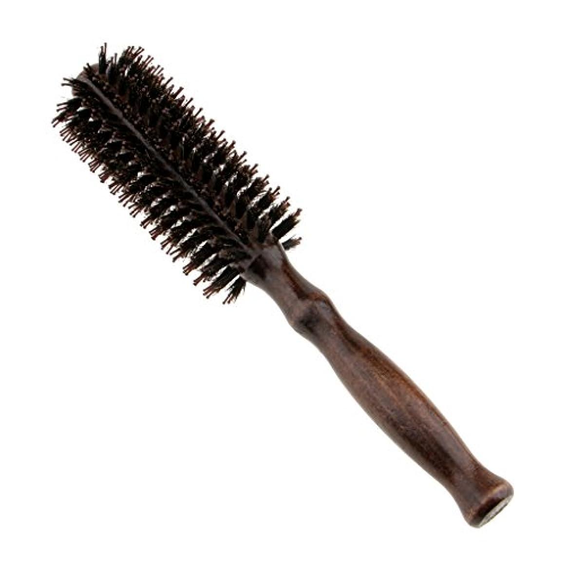 しない半径アパルラウンドウッドのハンドルヘアブラシの理髪美容カールヘアブラシのブラシ - #1