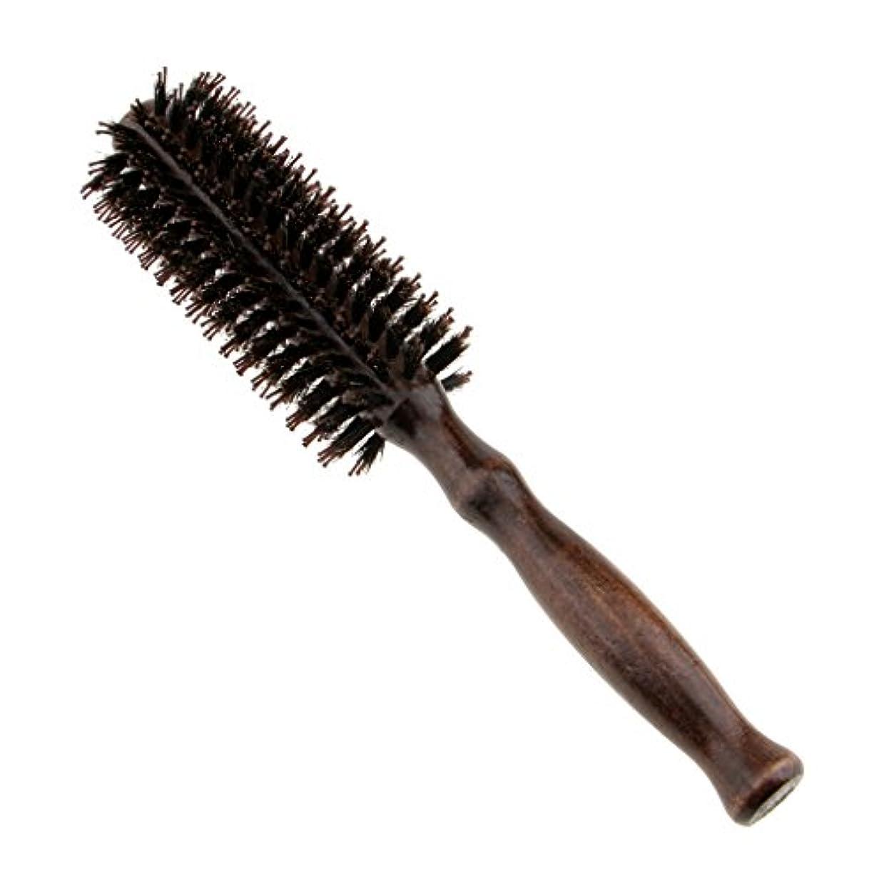 スマイル飢数学的なラウンドウッドのハンドルヘアブラシの理髪美容カールヘアブラシのブラシ - #1