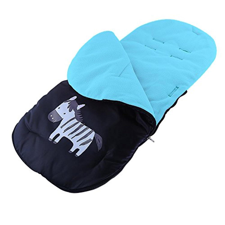 Bwiv 赤ちゃん 寝袋 ベビーカー用 フットマフ フリース 防寒 お出かけ 暖かい 冬 ブルー
