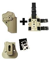 IMI Defense zsp07Single Magポーチ&パドル+ z1270360°回転ホルスターJericho / baby-eagle右手、タン+ z2200ドロップ脚アタッチメントリグ+ Ultimate Arms Gearマルチツール