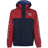 SoulCal Mens Cut and Sew Jacket Rain Coat Top Hooded Zip Press Stud Fastening