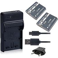 NinoLite 4点セット LI-90B / LI-92B 互換 バッテリー2個 +USB型 充電器 +海外用交換プラグ 、オリンパス Olympus 対応 dc16li90bx2