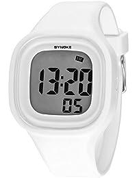 synoke 子供 腕時計 男の子 女の子 キッズ デジタル腕時計 小学生 入学祝い ギフト 防水 多機能 スポーツ用 ホワイト