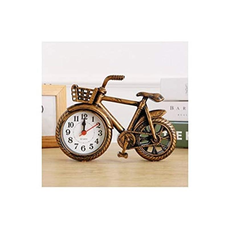 く凝視到着するKaiyitong001 目覚まし時計、レトロなノスタルジックな自転車モデル人格目覚まし時計、クリエイティブ自転車時計テーブル、家の寝室の装飾装飾目覚まし時計、シルバー人格 (Color : Gold)