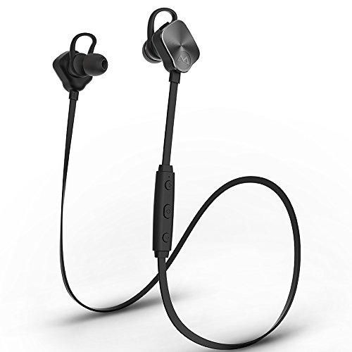 Mpow Magneto Bluetooth4.1スポーツイヤホン 高音質apt-Xコーデック採用 最大8時間再生 イヤーバッド マイク内蔵 ハンズフリー通話 CVC6.0ノイズキャンセリング イヤーフック付き iPhone&Android スマートフォンなど対応 MBH26D ブラック
