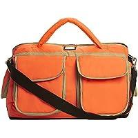 7 A.M. ENFANT Voyage Diaper Bag, Neon Orange, Beige by 7A.M. Enfant
