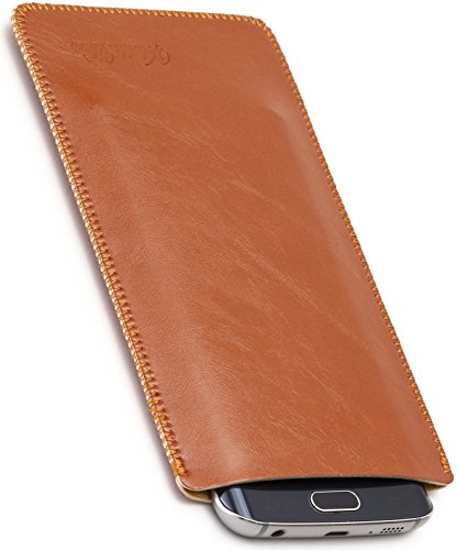 Mart V.M 5.8/6.3/6.2インチ スリーブケース レザー Galaxy スリップイン 軽 薄 皮 革 6.2 スマホ スリーブ ケース S8plus スリップインケース S8 Plus スリップケース スリップ インケース イン スマホケース 袋 ライト ブラウン S8+ 薄茶