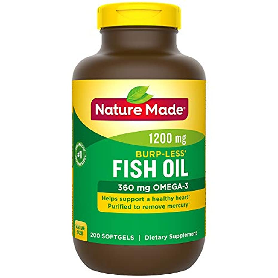 ソロヒント使役Nature Made Fish Oil 1200 Mg Burp-less, Value Size, 200-Count 海外直送品