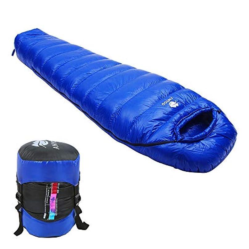 推論塩辛い肌ダウンバッグ軽量の防水ポータブル0℃スリーピングAnyoo 800gフィルパワーのグースは、ダブル、パーフェクトハイキングキャンプアウトドア、圧縮袋のため含まれており、5つのカラーオプションを作るために一緒にジップ