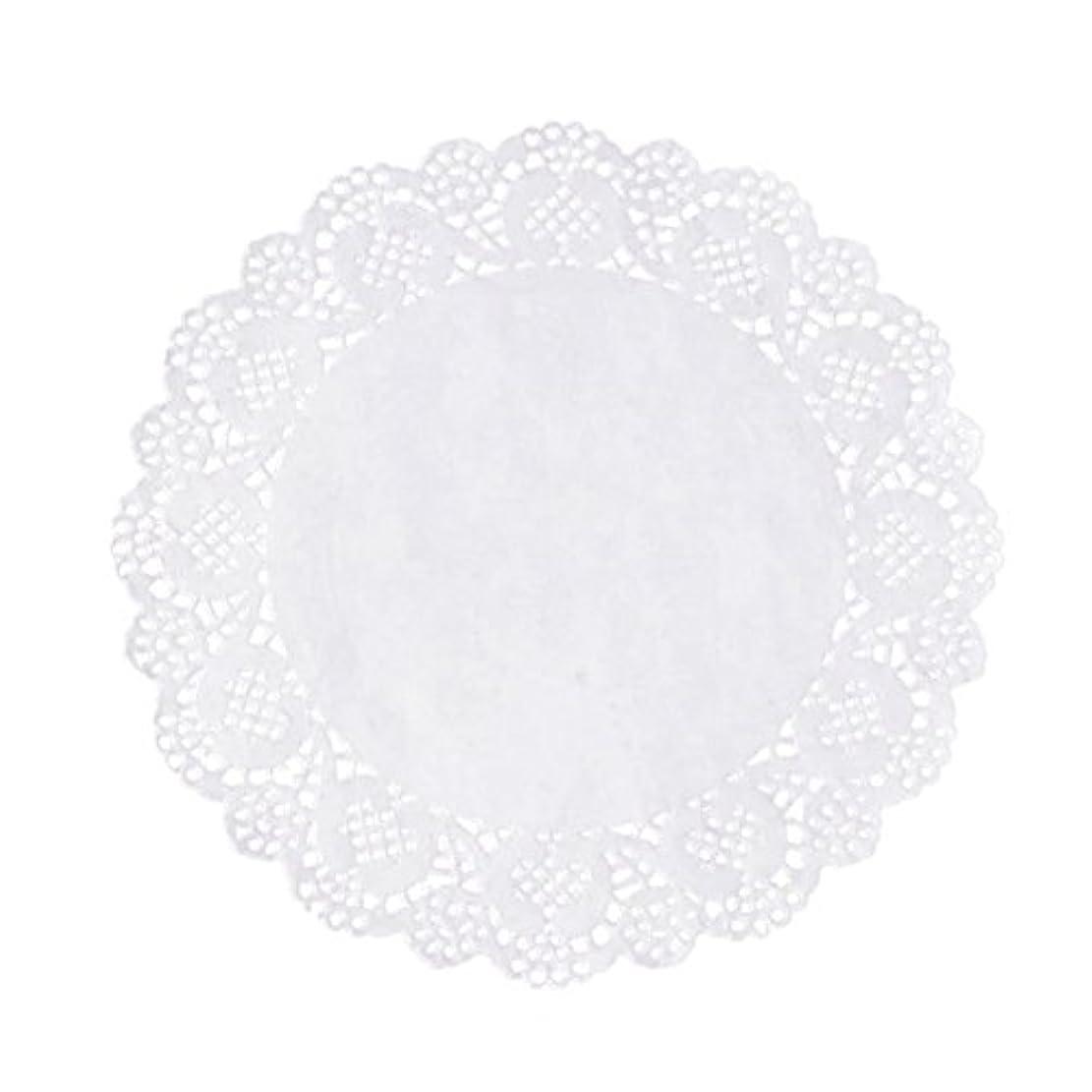 マウンド然とした宇宙のRETYLY 100枚白いレースラウンド小さなマットケーキ包装パッド結婚式の食器装飾