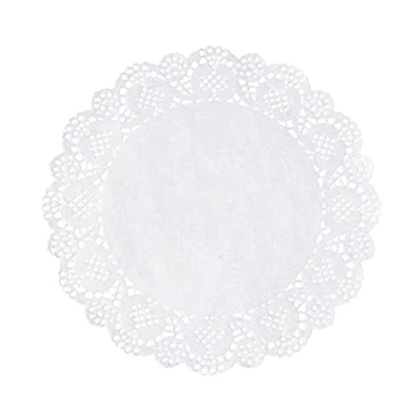 並外れて鷲に対応するRETYLY 100枚白いレースラウンド小さなマットケーキ包装パッド結婚式の食器装飾