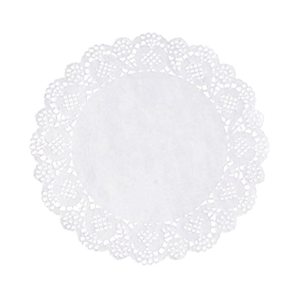 舞い上がる偽造民族主義Xigeapg 100枚白いレースラウンド小さなマットケーキ包装パッド結婚式の食器装飾