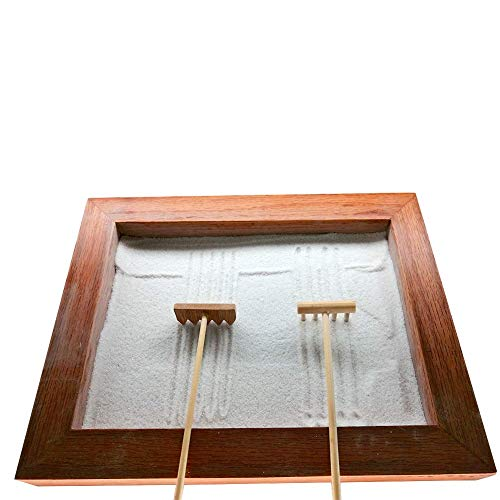 Gallop Chic Zen Garden Tools Set - Mini Desktop Sand Box Accessories - Miniature Rake Kit with Bamboo Holder for Rock Garden, Meditation & Relaxation Home or Office Decor, Great Gift idea