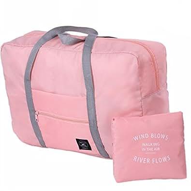 折りたたみ旅行バッグ ピンク