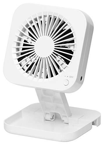 山善 扇風機 10cm 押しボタンスイッチ ポップアップ デスクファン 風量2段階調節 2電源対応 ...