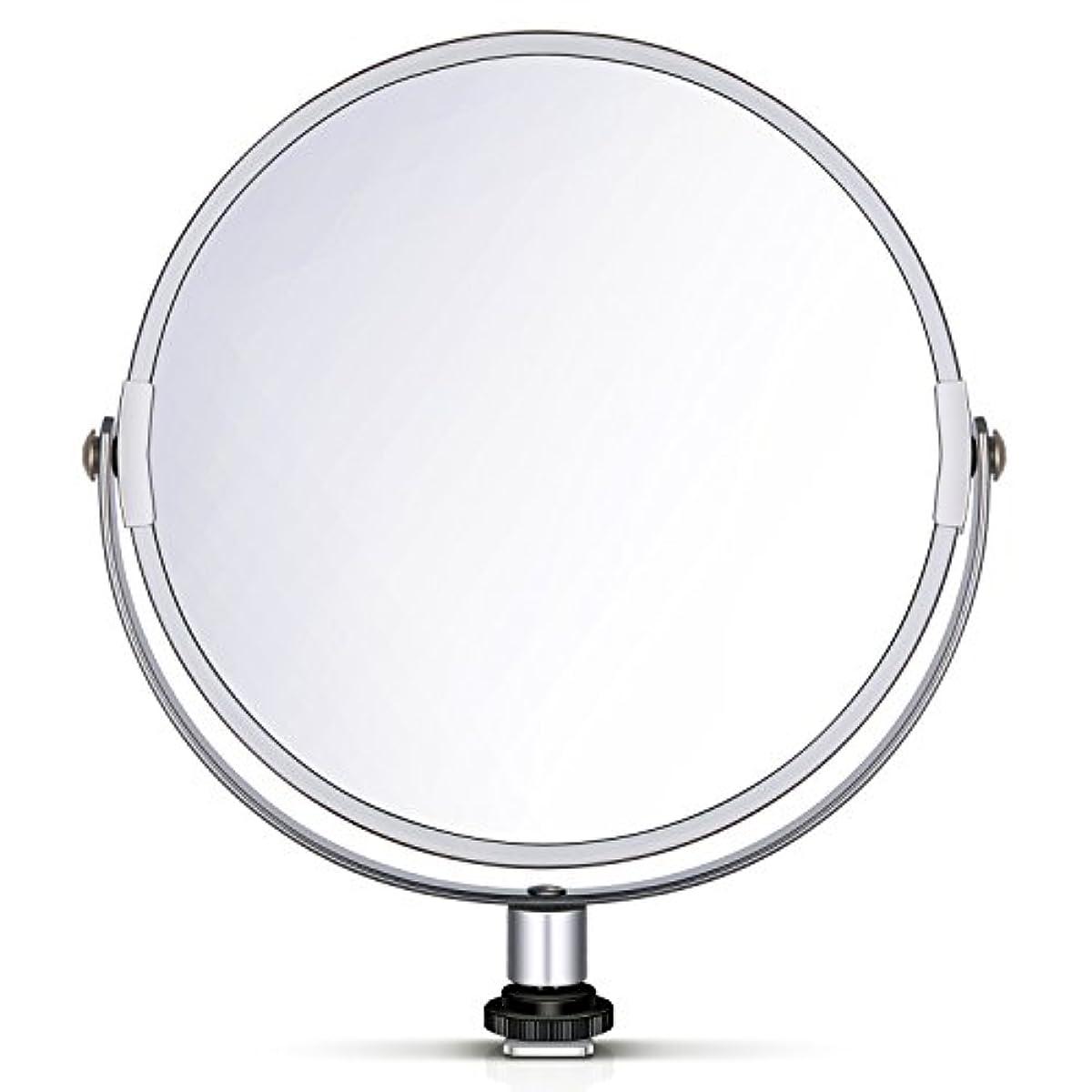 グローブ返還ベーカリーNeewer 両面鏡 拡大鏡 化粧鏡 8 in/20 cm 円形 18 inのリングライト 自撮り 化粧 ポートレート用アダプタ付