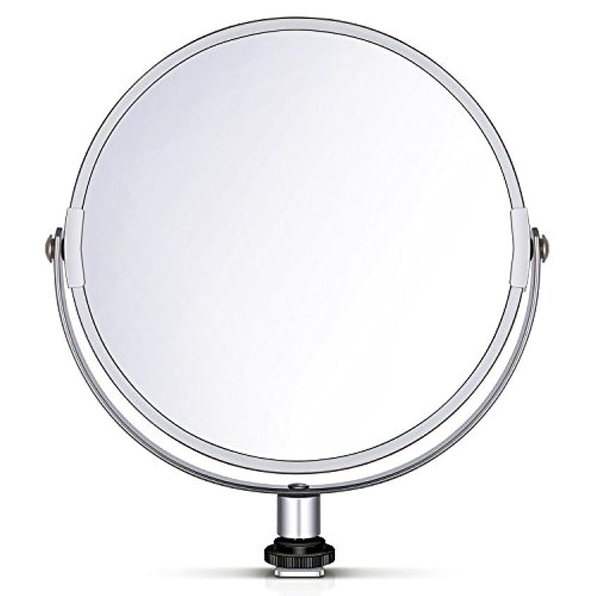 Neewer 両面鏡 拡大鏡 化粧鏡 8 in/20 cm 円形 18 inのリングライト 自撮り 化粧 ポートレート用アダプタ付