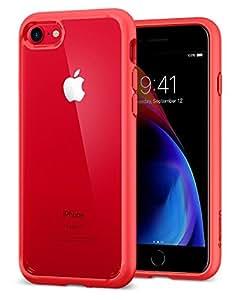 【Spigen】 スマホケース iPhone8 ケース / iPhone7 ケース 対応 背面クリア 米軍MIL規格取得 耐衝撃 ウルトラ・ハイブリッド2 042CS21724 (レッド)