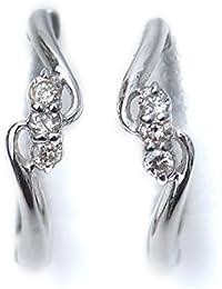 ピアリング 天然 ダイヤモンド入り 14金ホワイトゴールド ウェーブライン D:計0.06ct/K14WG ピアス みたいな イヤリング
