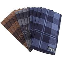 Prettyia 12 Pieces Vintage Men's Plaid Cotton Handkerchief Pocket Square Hankies