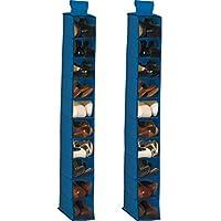 2セット吊り下げシューズオーガナイザー 非常に深い棚 省スペースクローゼットオーガナイザー 靴10足収納 幅5.25インチ x 奥行12インチ x 高さ46インチ ネイビーブルー