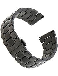 SONONIA メンズ 時計 ウォッチ ブレスレット バンド 調節可能 快適 交換用 多種類選べ  - ブラック24mm