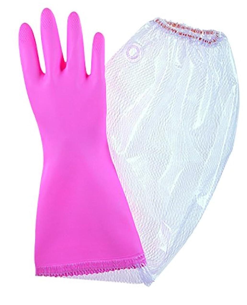 させるいちゃつく詩人東和コーポレーション 《掃除用手袋》 ビニスター腕カバー付フルールあつ手 ピンク Mサイズ No.721