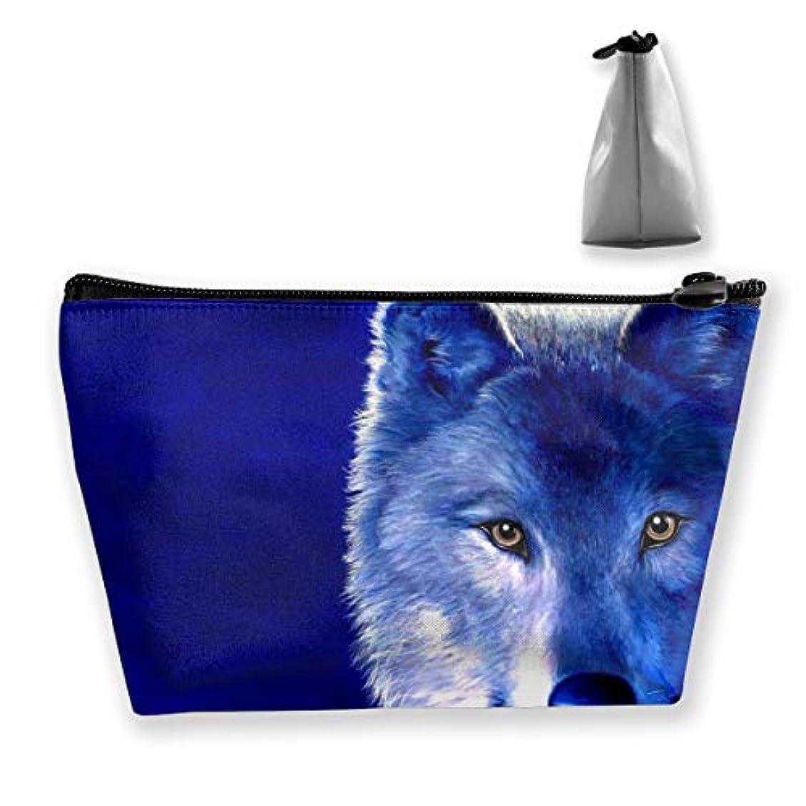 バイソン才能のある致命的な青いオオカミ 化粧ポーチ メイクポーチ コスメポーチ 化粧品収納 ミニ 財布 小物入れ 軽い 軽量 防水 旅行も携帯便利 多機能 バッグ 小さな化粧品の袋