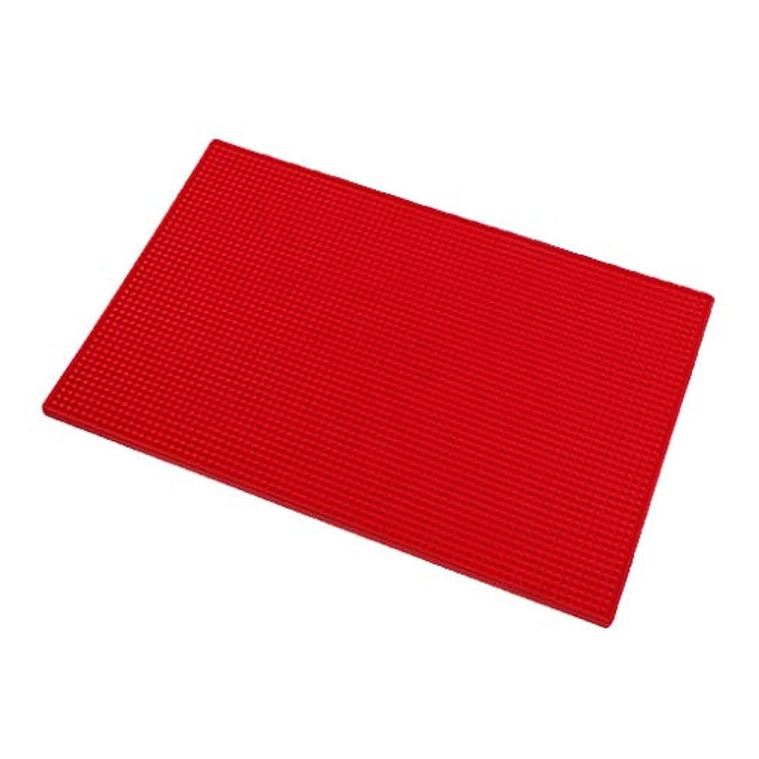 P Prettyia クッション シリコンマット ネイルアート ハンドレスト マニキュアツール 全3色 - 赤