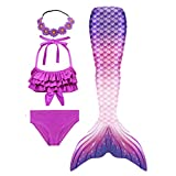 SANNYHHOOT Girl's Mermaid Tail Swimsuit For Swimming Bikini Set Sea-Maid Bathingsuit