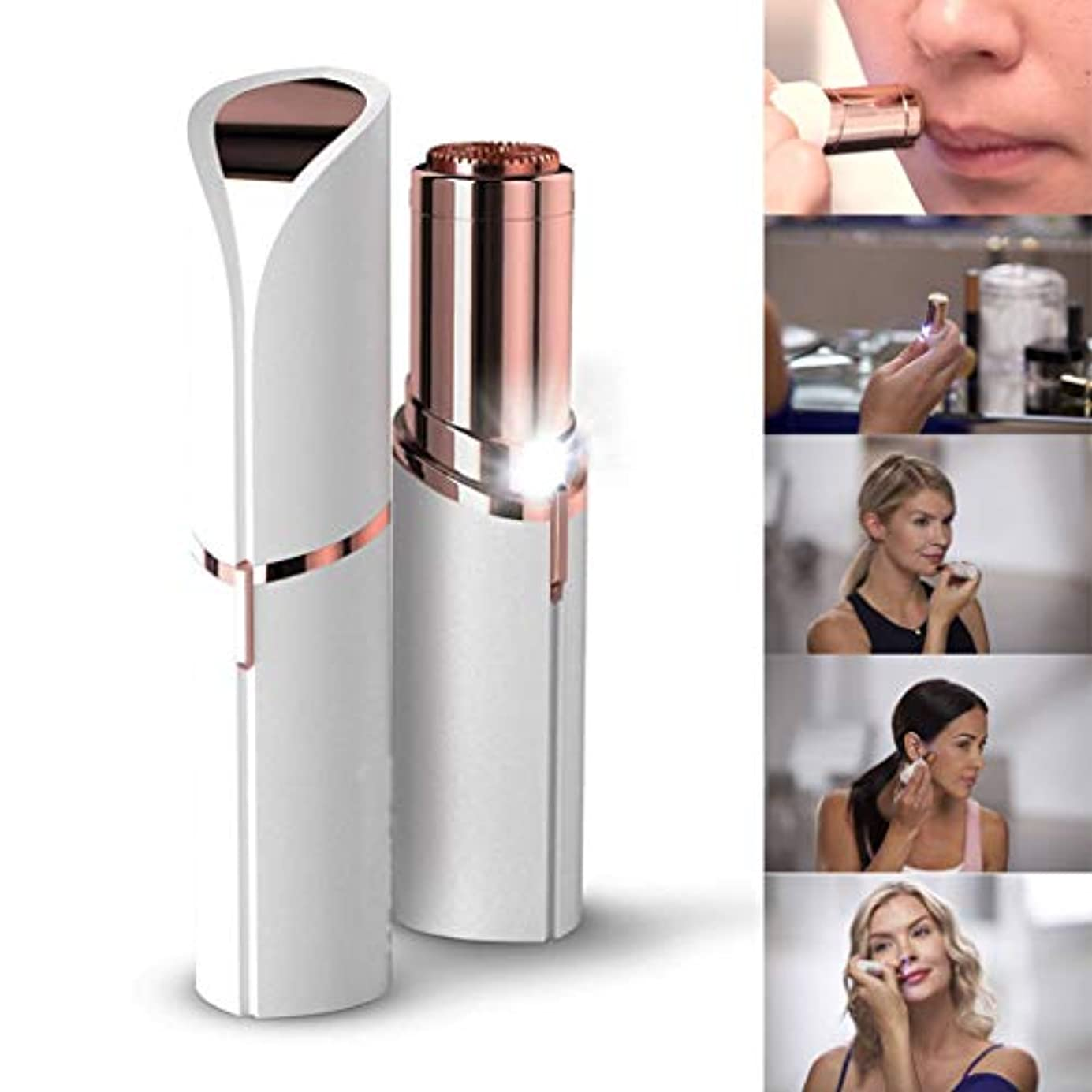 女性のための顔用ヘアトリマー、女性の無痛脱毛かみそり脱毛器ポータブル電気顔用ヘアリムーバル(電池式)