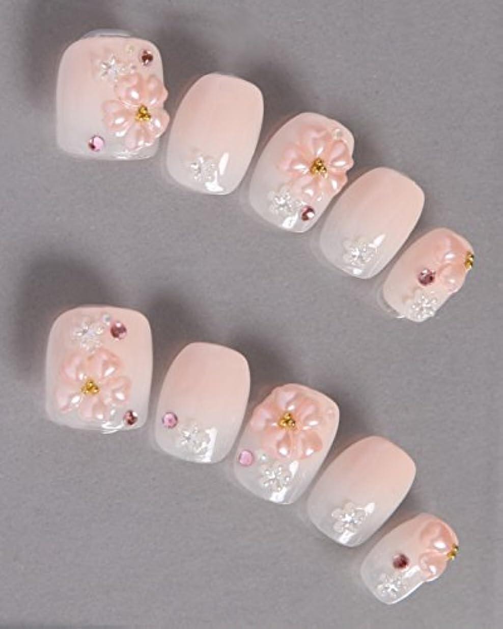 サーカス無謀アルファベットゆずネイル|ネイルチップ 薄ピンク 桜?梅 ガーリー 春 着物(A10036-Q-CCP)