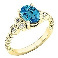 10K イエローゴールド 8X6 mm オーバル&ラウンドホワイトダイヤモンド レディース ユニークヴィンテージ婚約指輪