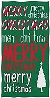 フェイスタオル - 緑のクリスマスツリーの赤のレタリング - 吸水 速乾 耐久 綿 デイリー 柔らか肌触り ふんわり 家庭用 業務用 無地(38x69cm)