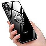 iPhone XS ケース/iPhone X ケースリング 透明 クリア リング付き tpu シリコン スリム 薄くて軽い耐衝撃 磁気カーマウントホルダー車載ホルダー対応 全面保護 滑り防止 一体型 人気 防塵 携帯カバー 高級なカーボン風 スクラッチ防止(ブラック)