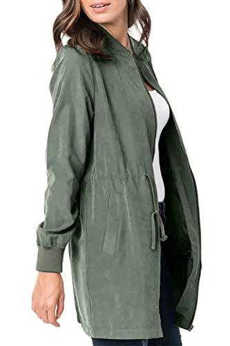 CILKOO Womens Casual Lightweight Zip Up Suede Jackets Dust Coat Outerwear Windbreaker Green US8-10 Medium