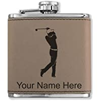 フェイクレザーフラスコ – Golfer Golfing – カスタマイズ彫刻Included (ライトブラウン)